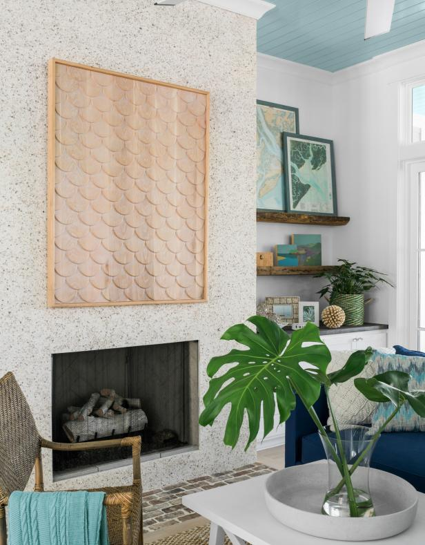 Living room with white built-in fireplace