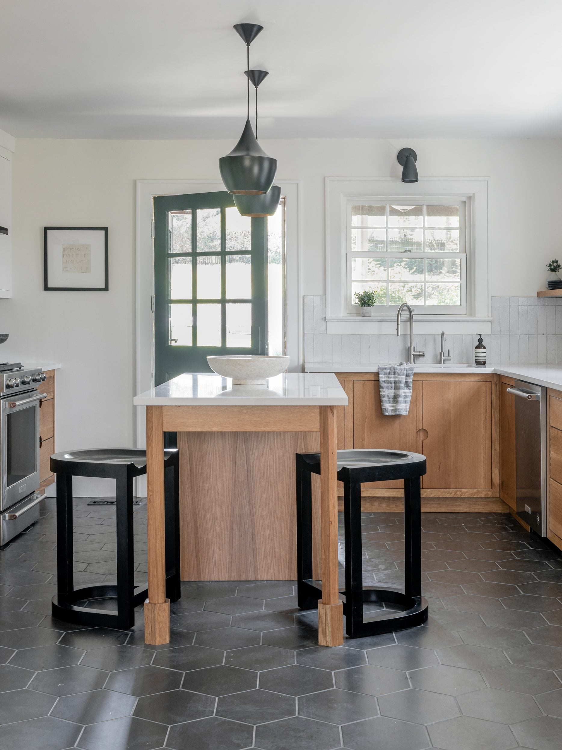 farmhouse kitchen with a wood island