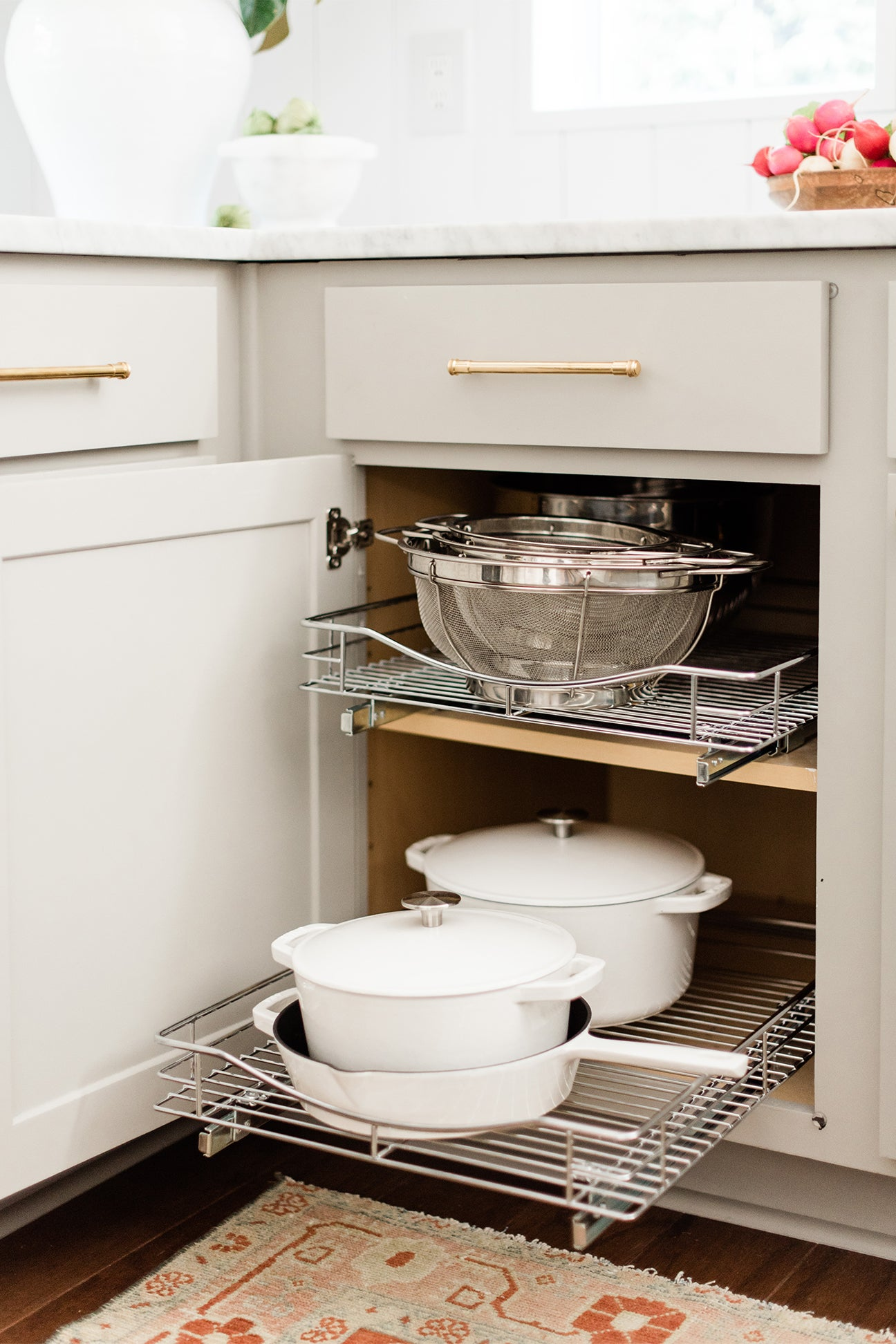 rolling rack cupboard for pots and pans