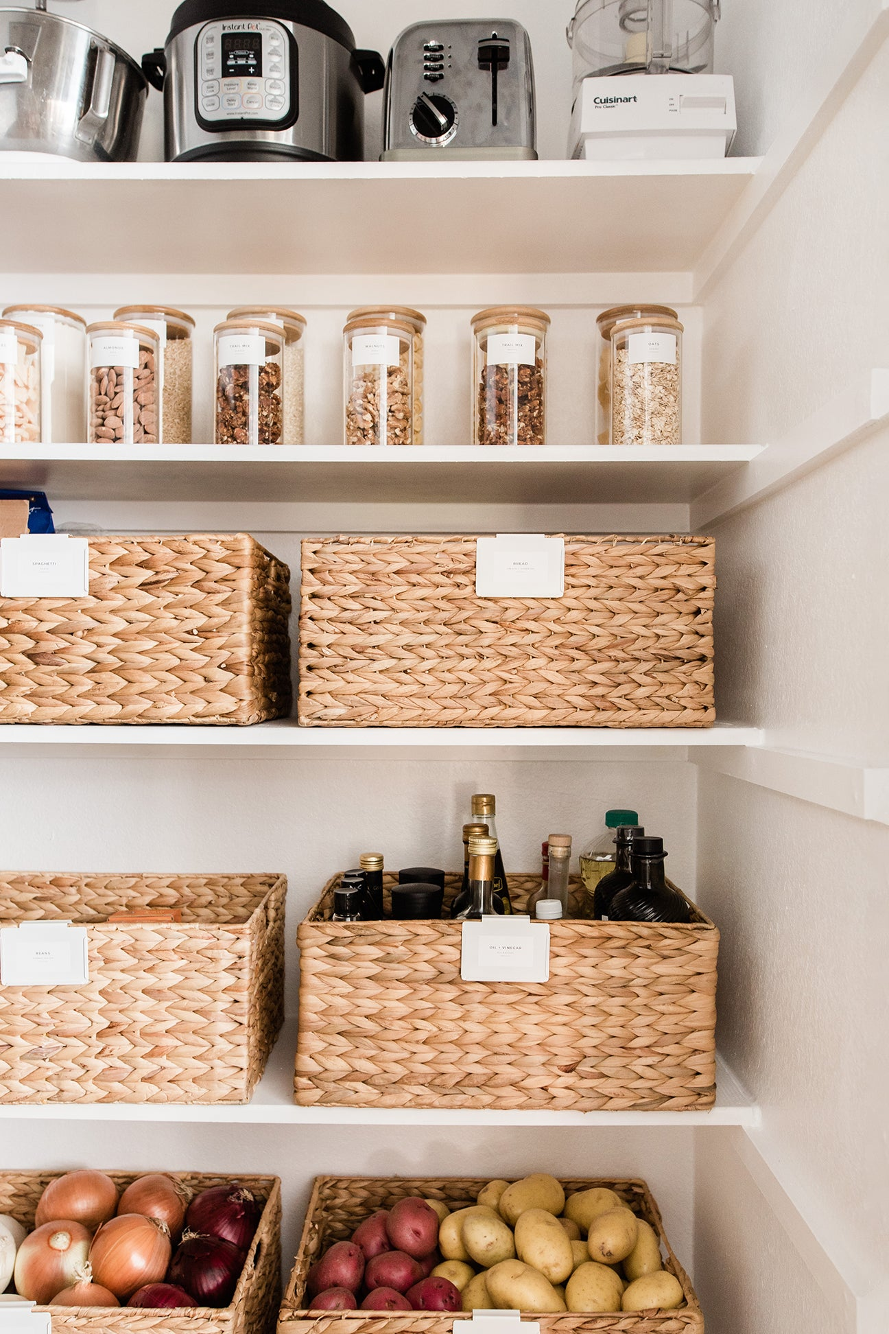 woven baskets in pantry