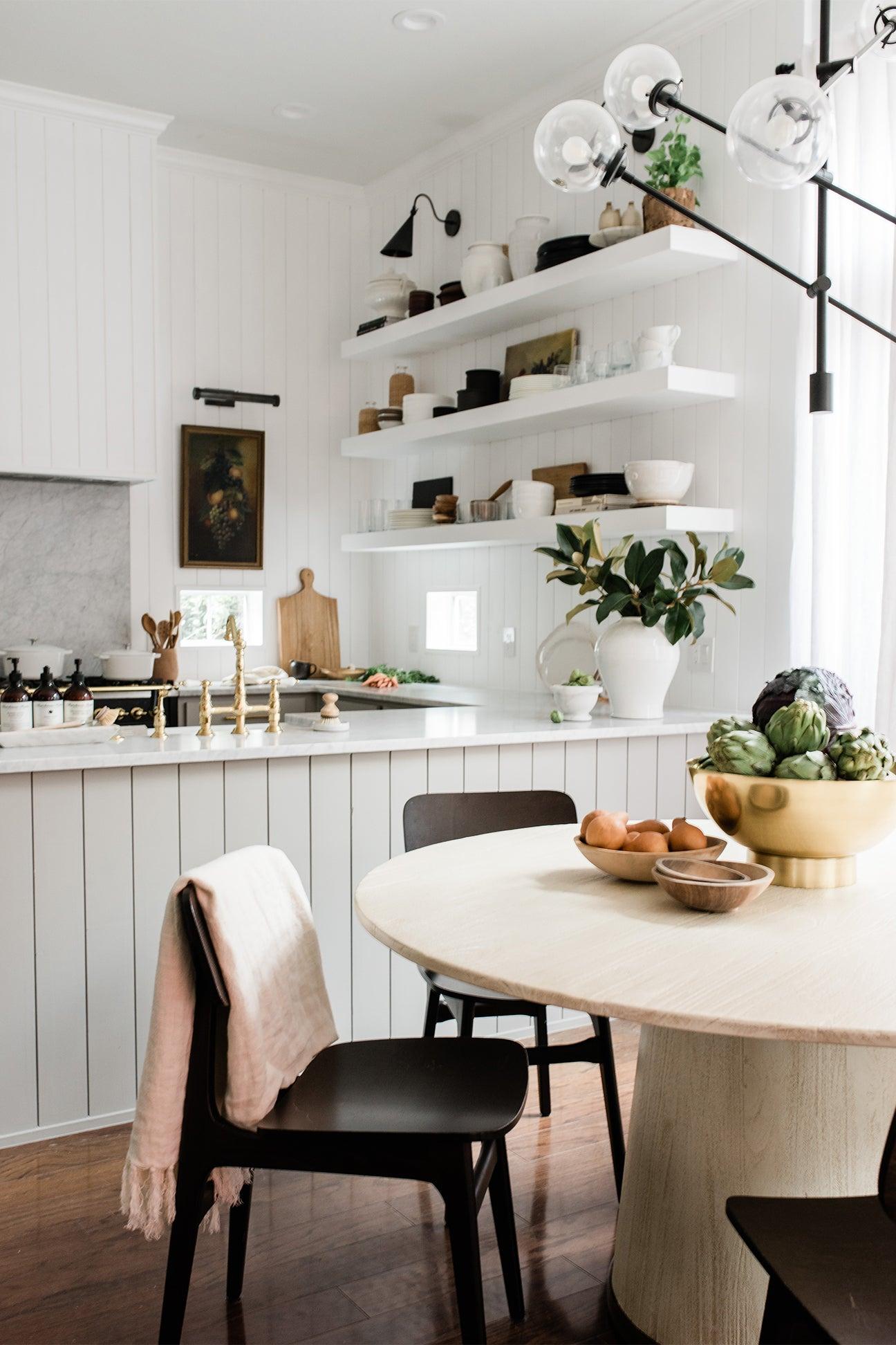 breakfast nook in white kitchen
