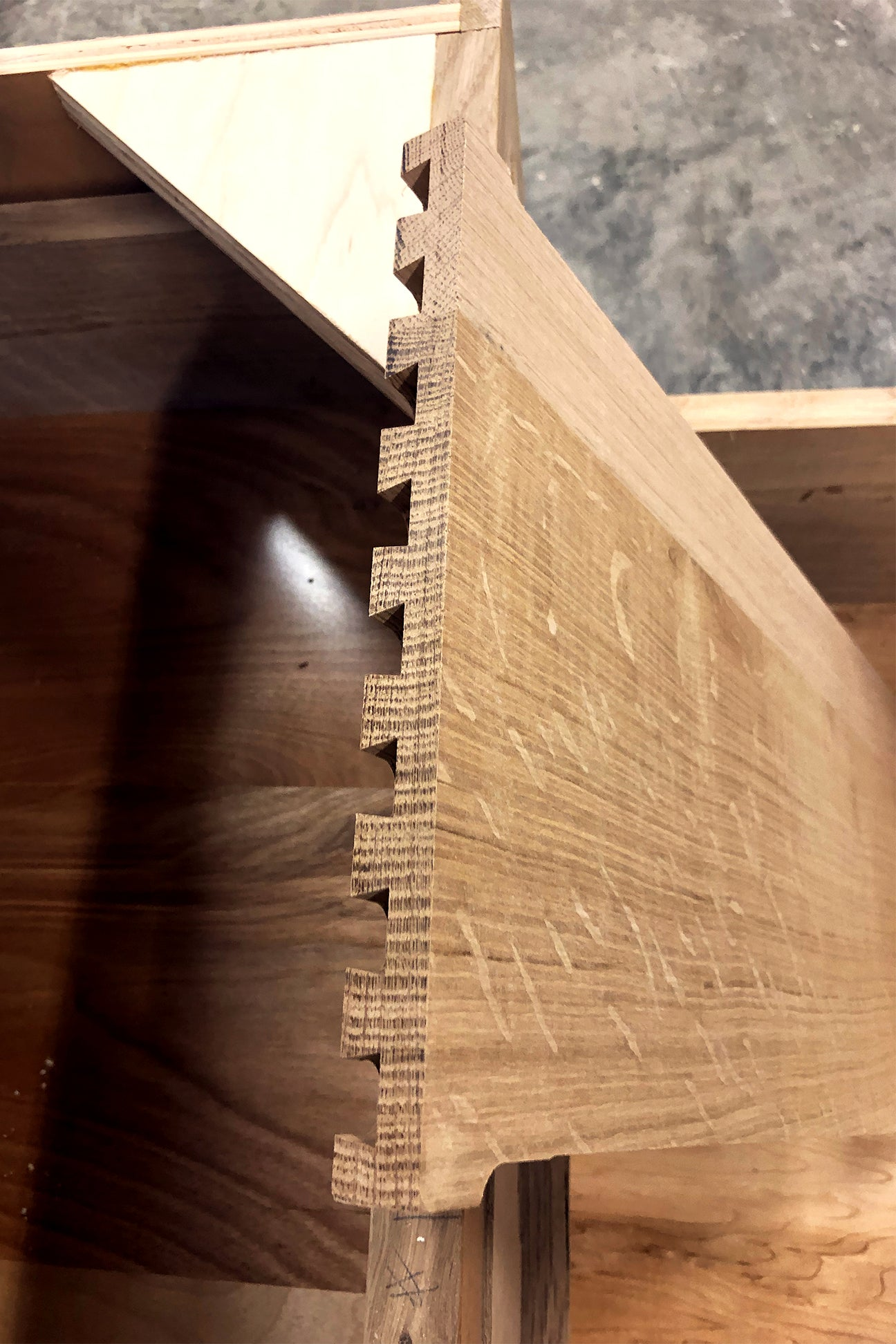 close up of dovetail detail of cabinet