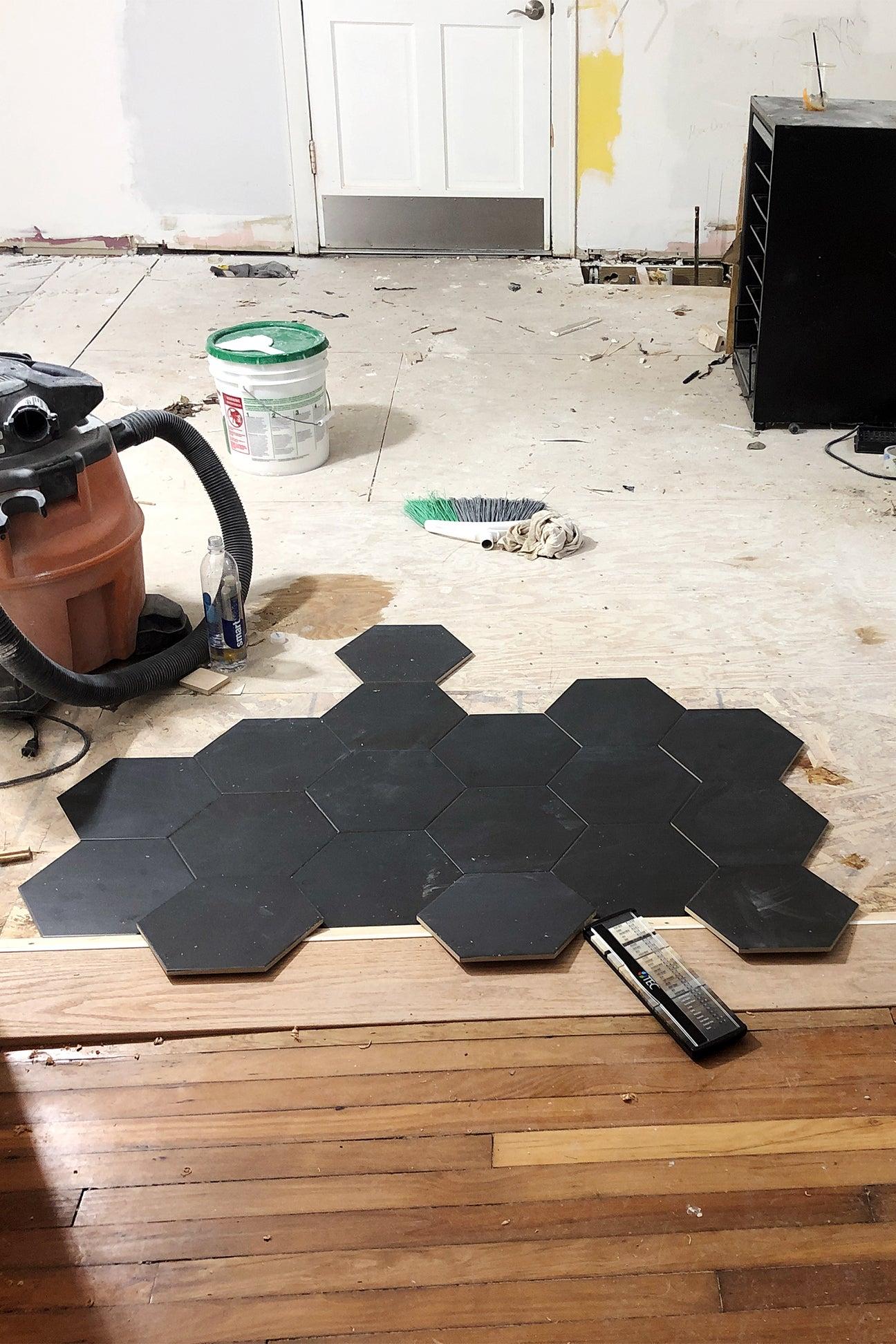 partially tiled floor