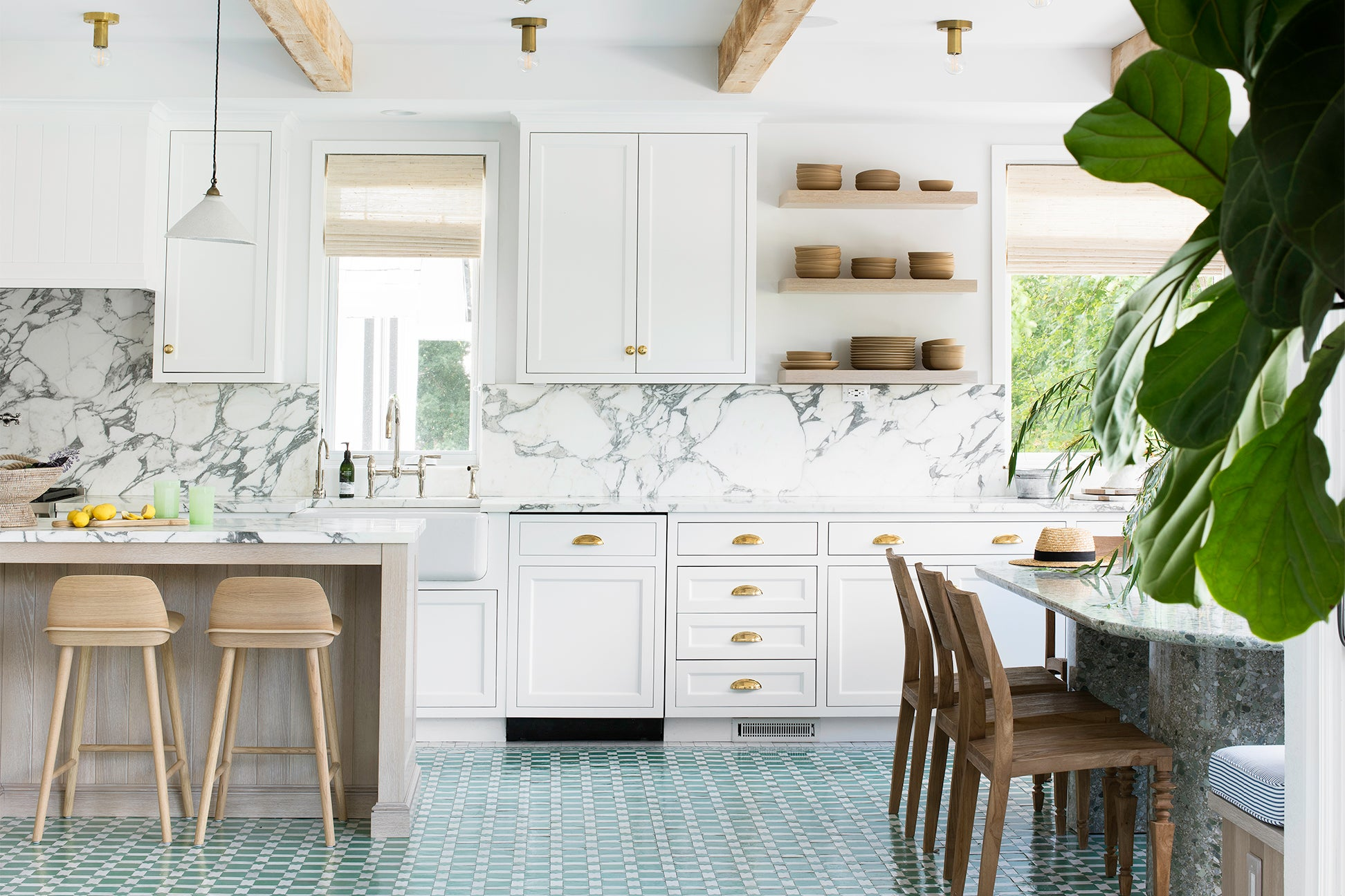 seafoam green floors and white kitchen