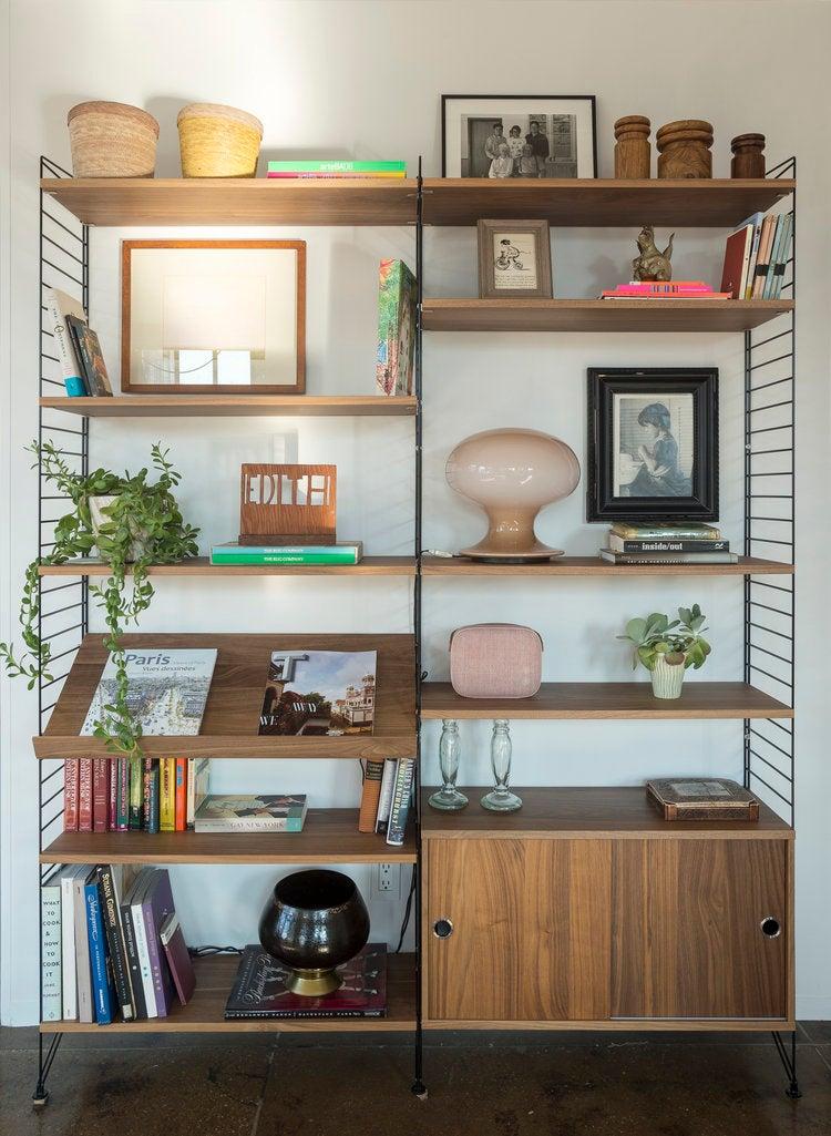 bookshelf of plants