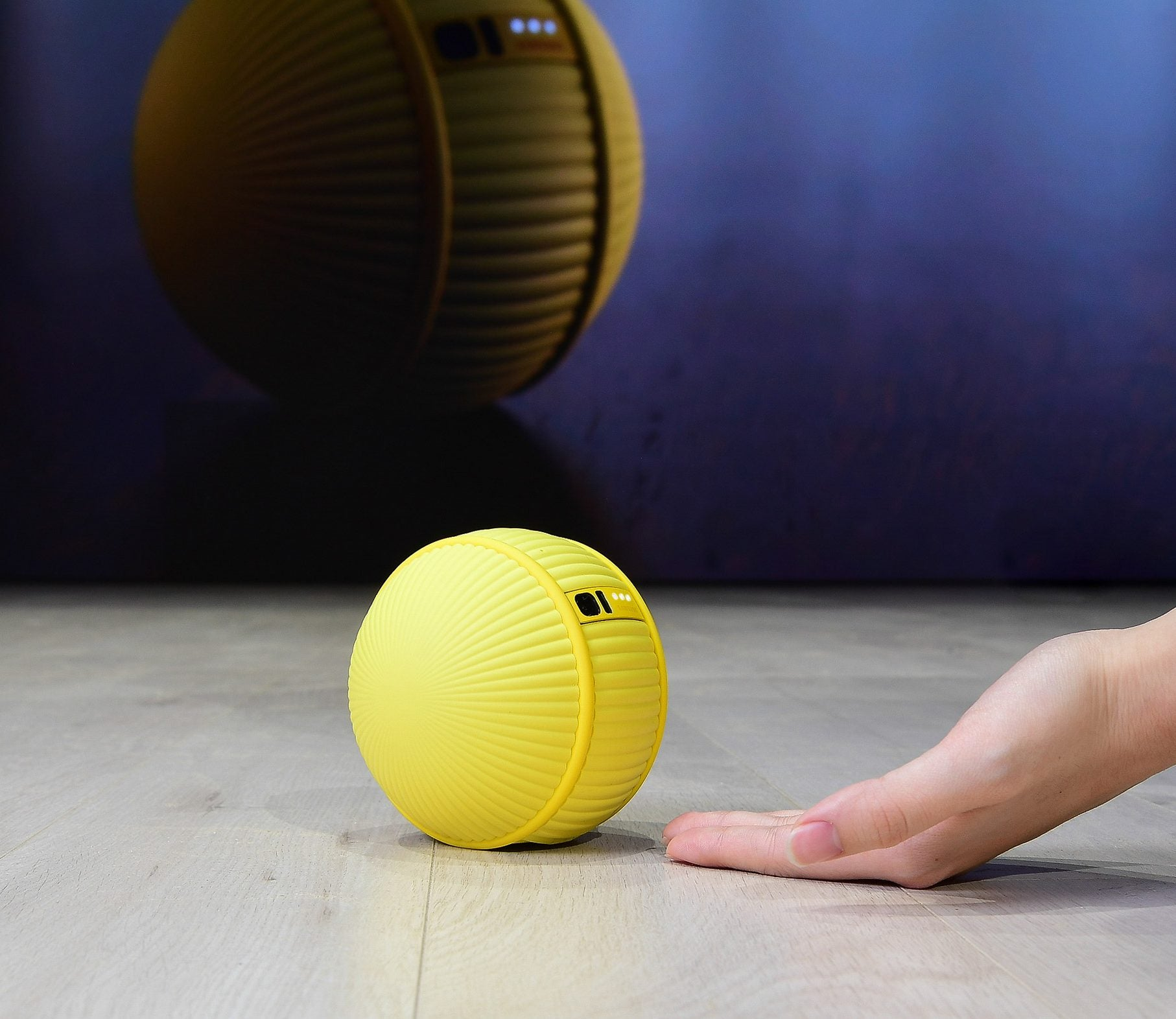 yellow ball on the ground rolling into a human's hand