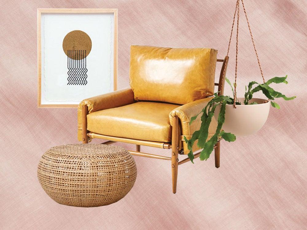 chair ottoman artwork and hanging planter