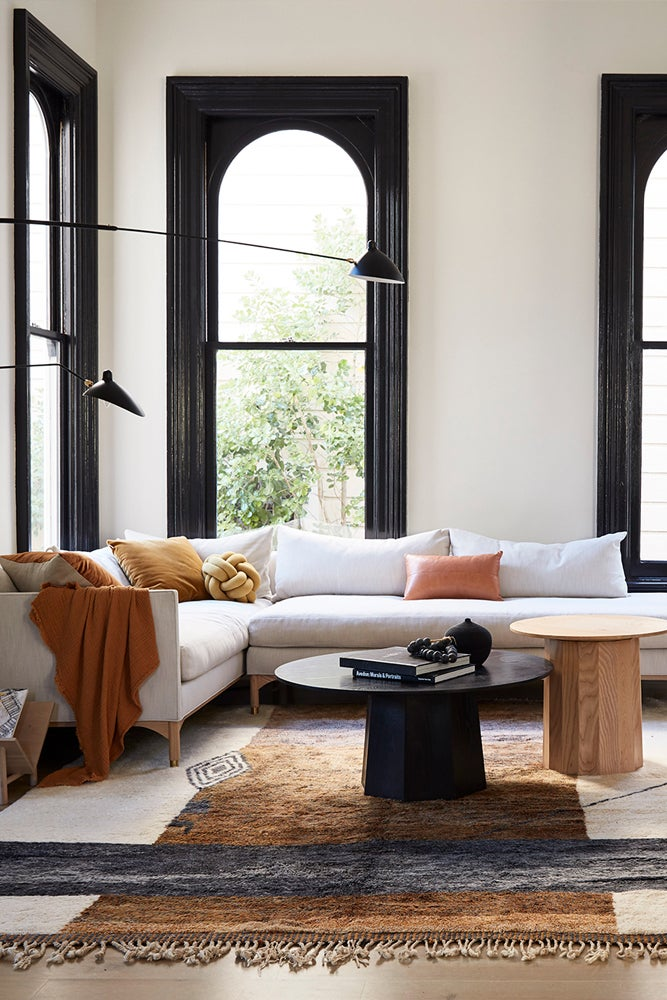 Living room with white sectional