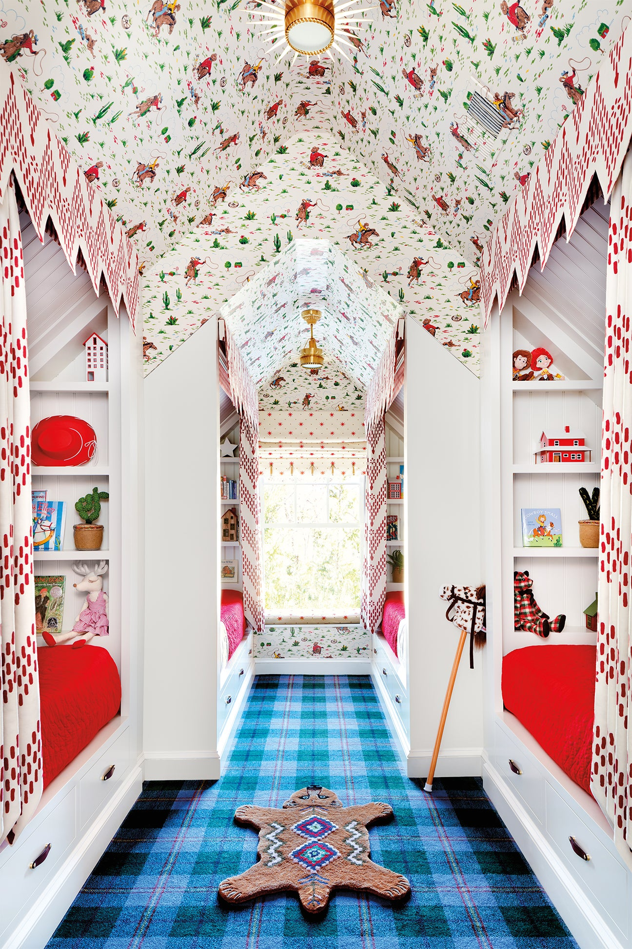 Kids room with built-in bunk and wallpapered ceiling