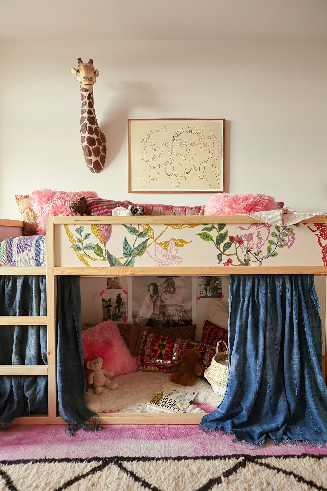 Kids room with lofted bed
