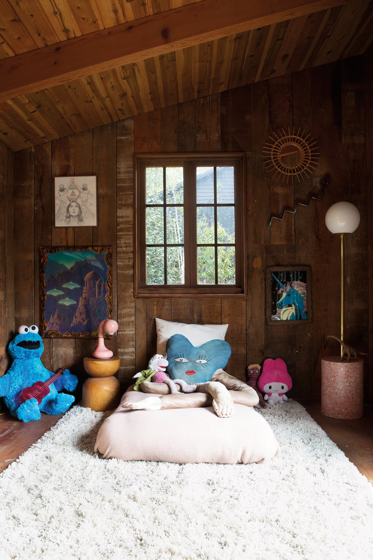 Kids room with wood walls
