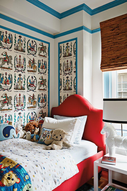 Kids room with framed wallpaper