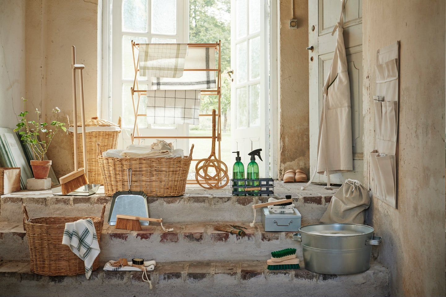 natural material cleaning supplies in a room