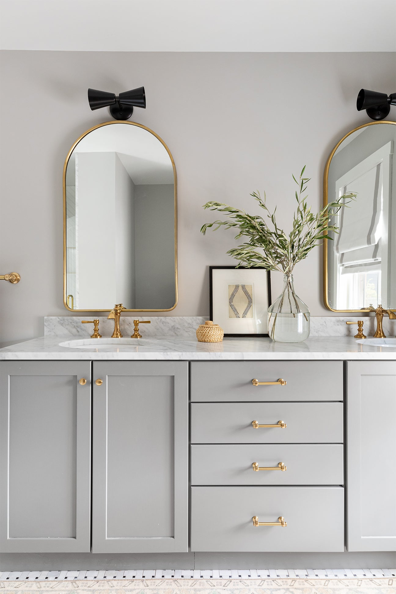 grey bathroom with double vanity
