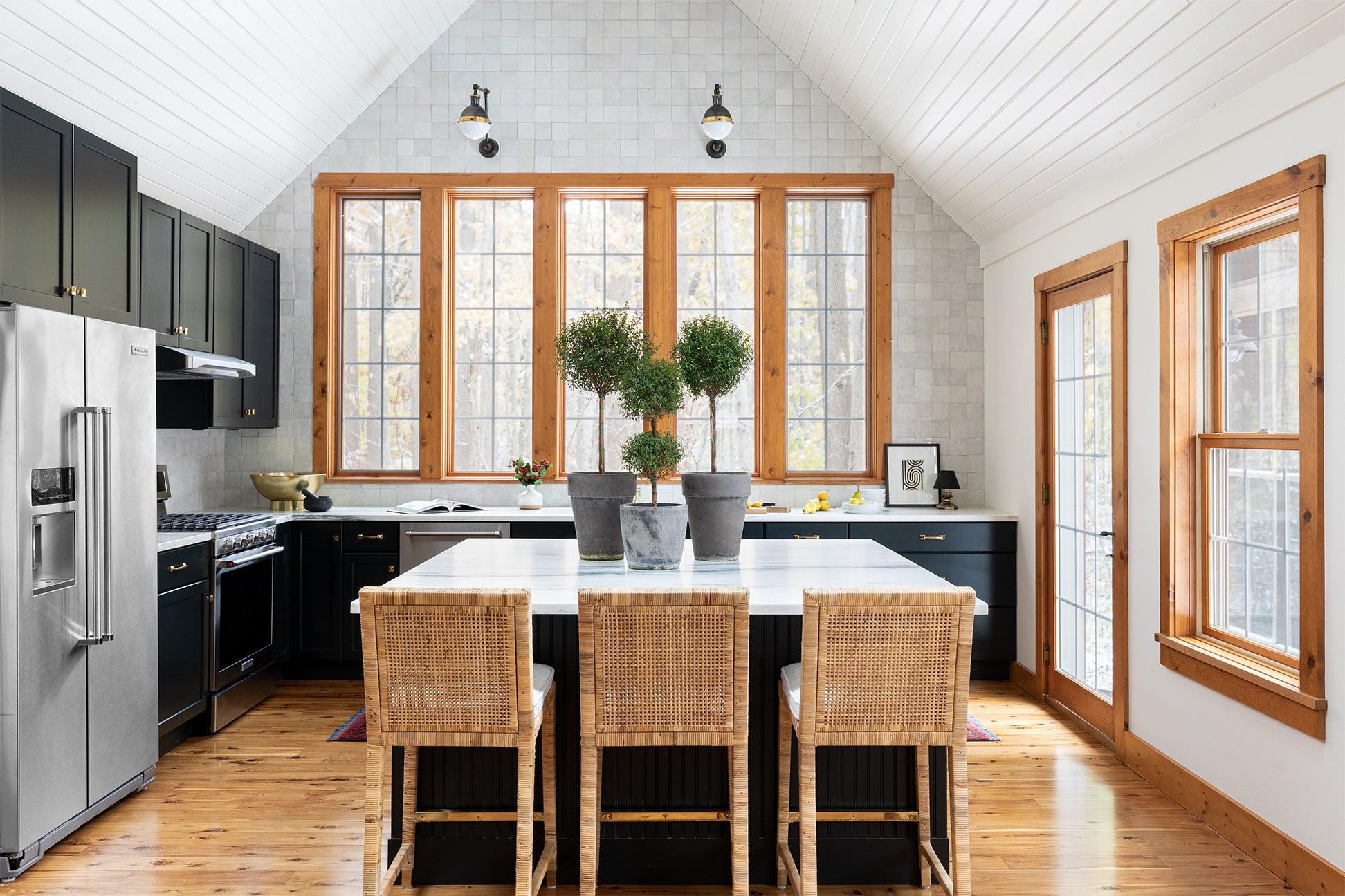 kitchen with island barstools