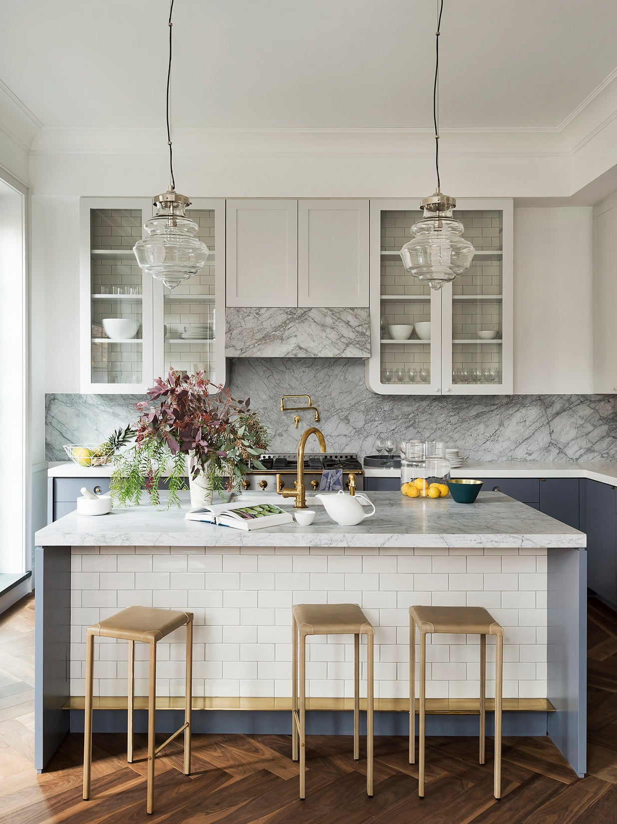 gray marble kitchen with large three person island