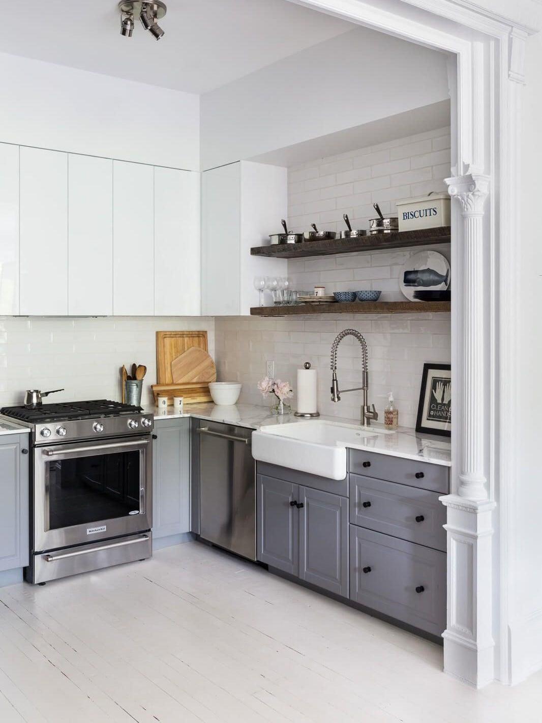 grey and white apartment kitchen