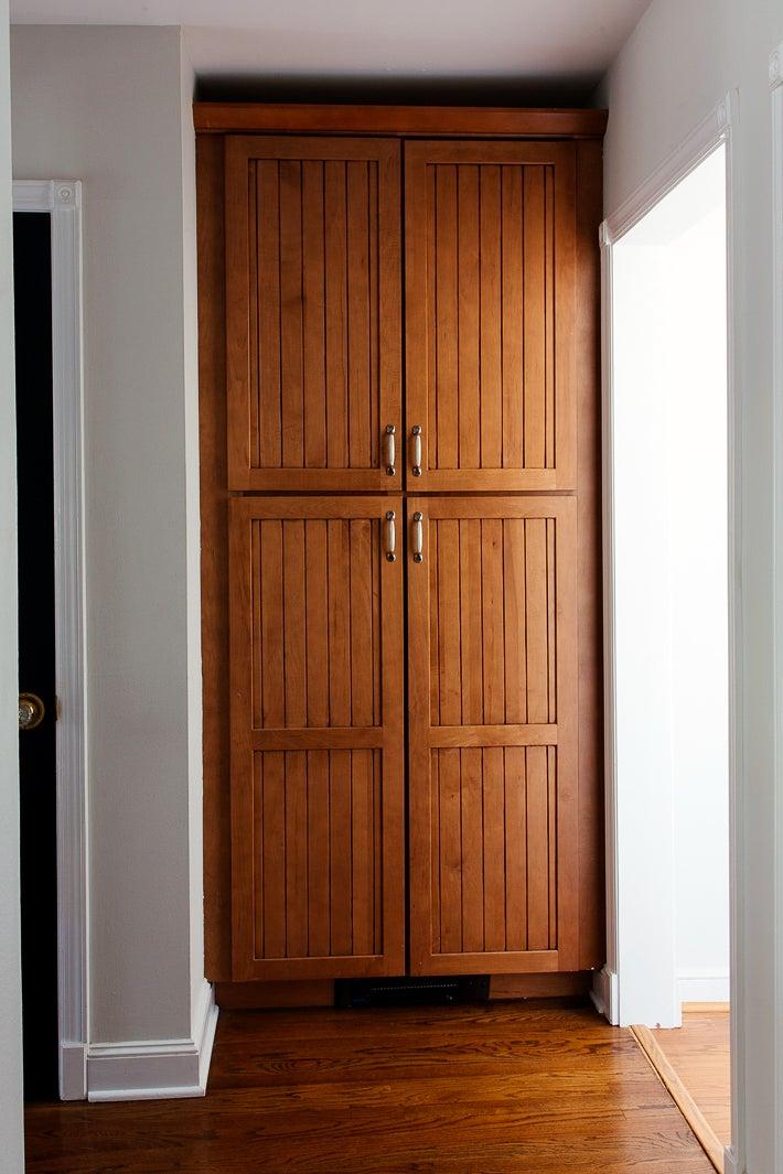 floor to ceiling wood pantry cabinet