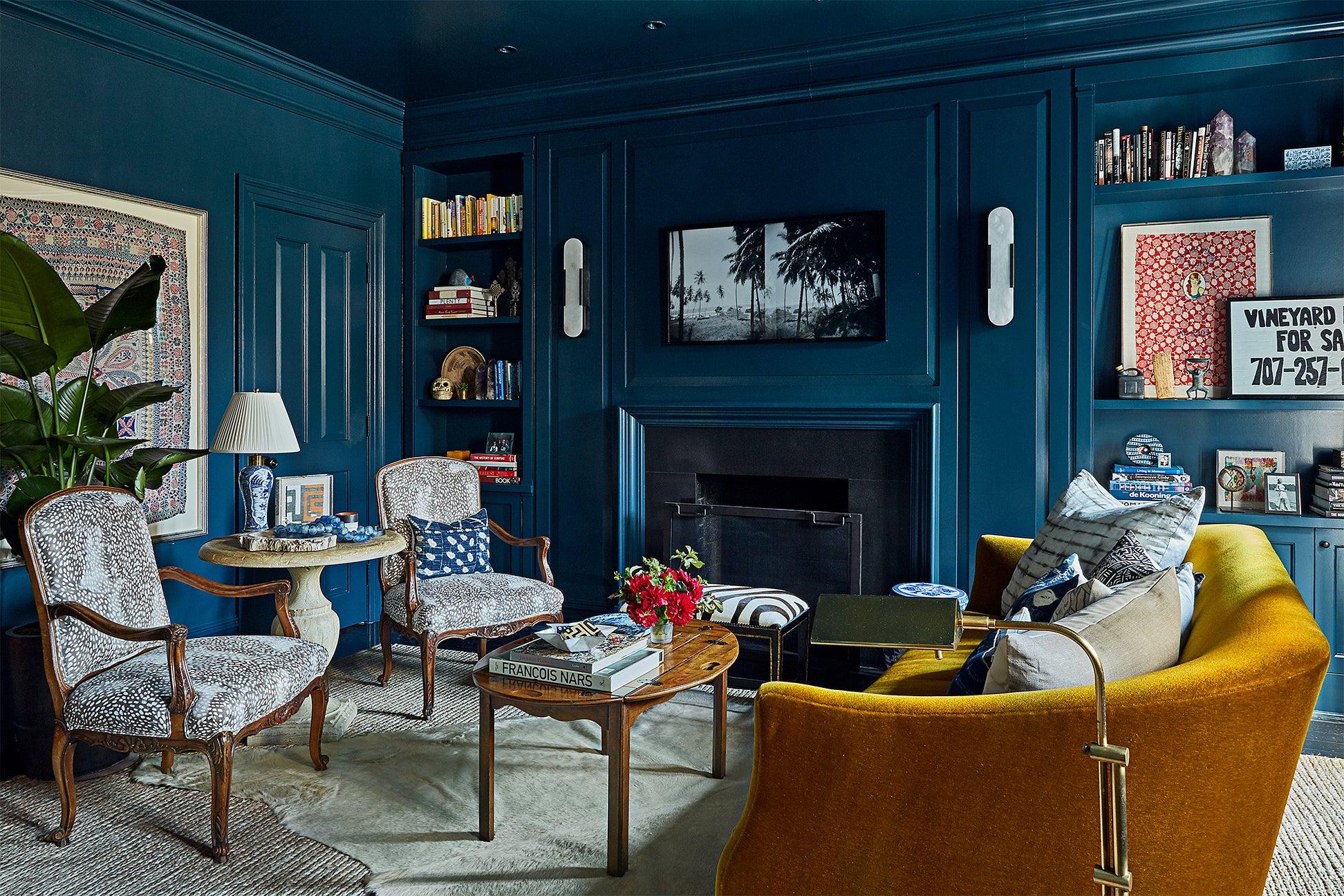 all blue living room