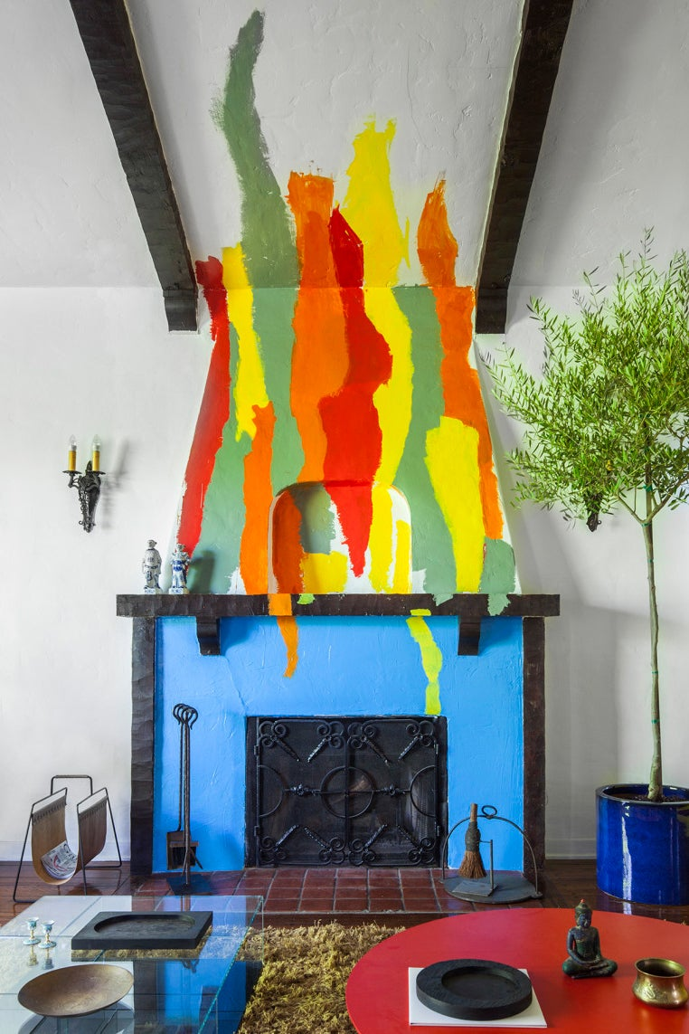 fireplace mural with multicolored flames