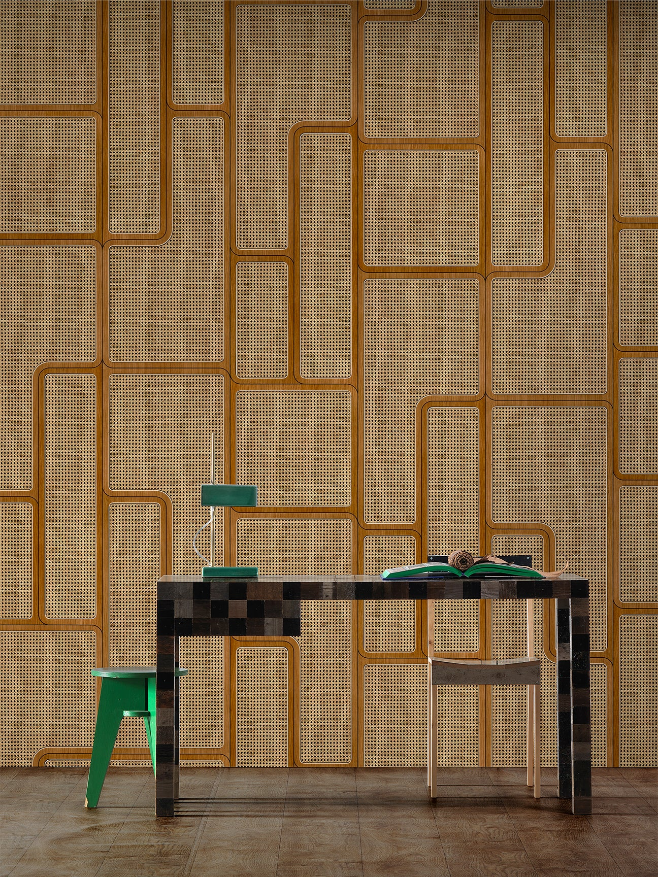 zig zag cane wallpaperwith a desk and chair in front of it