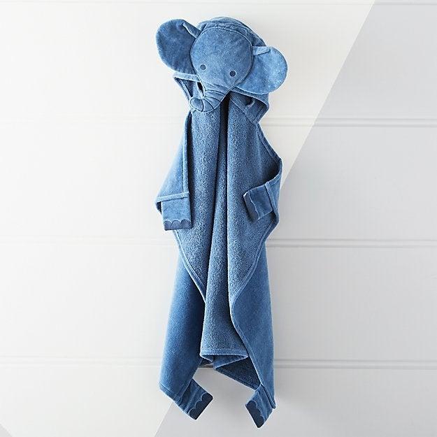 Dark Blue Elephant Hooded Towel
