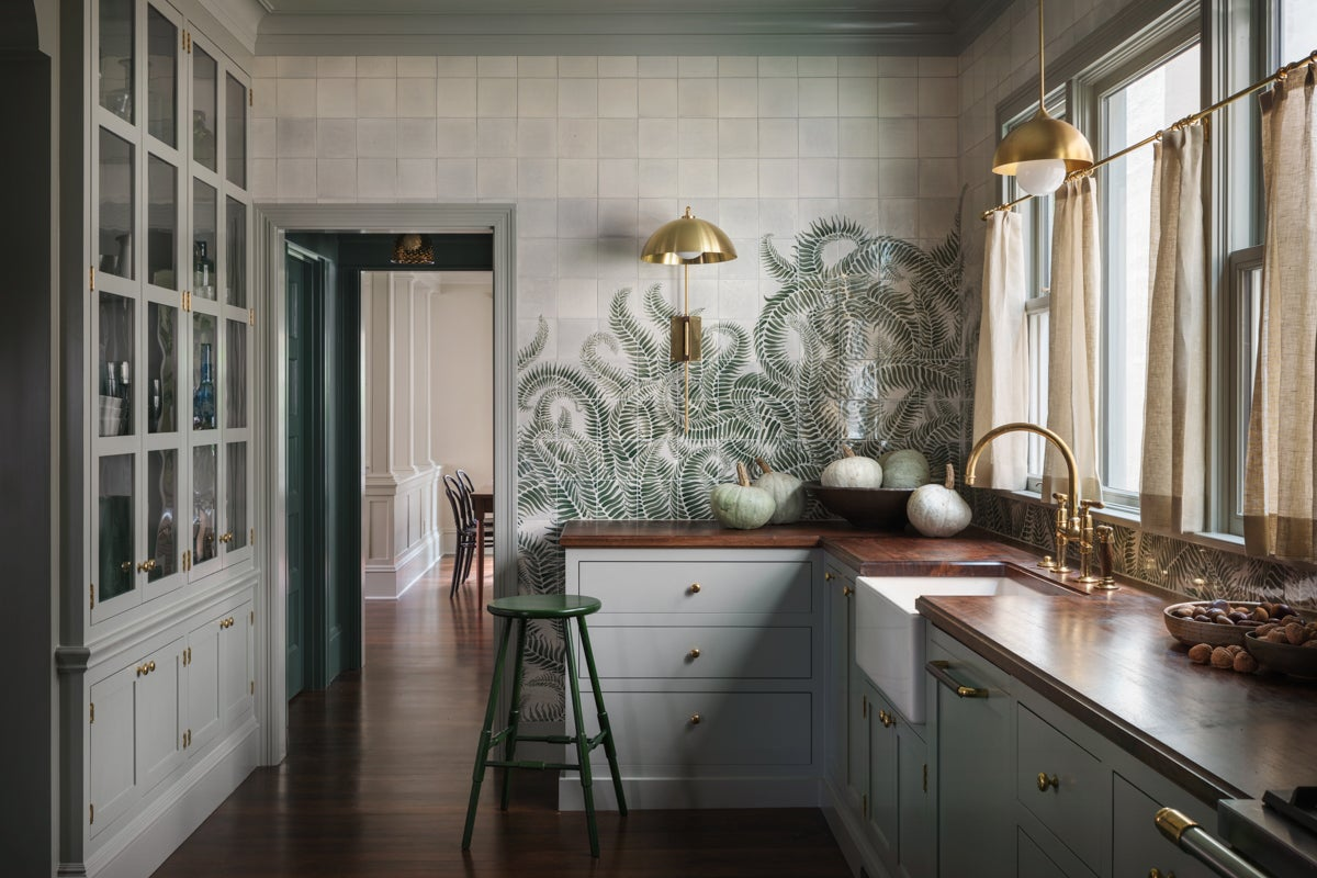 kitchen with green tile