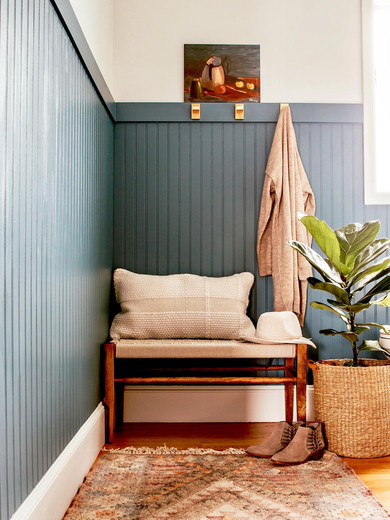 blue headboard in bathroom