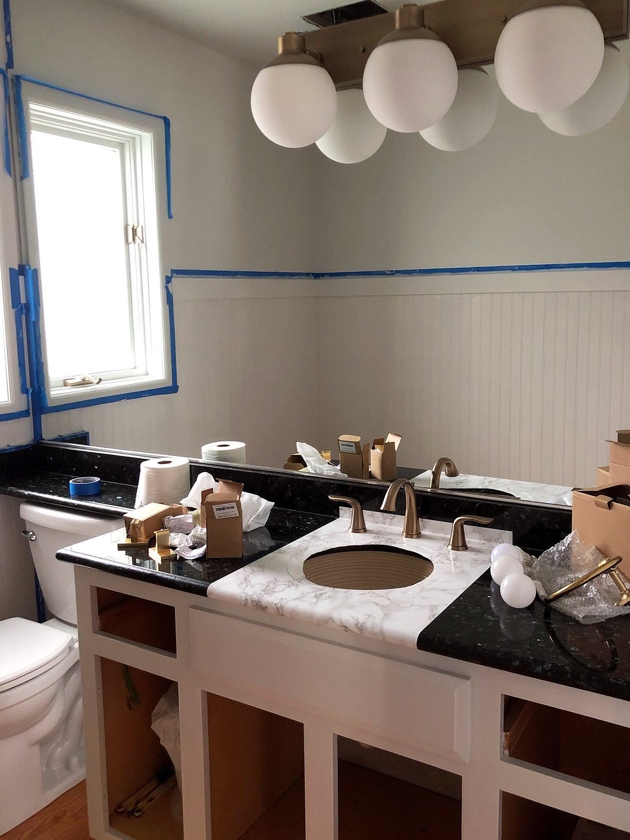 bathroom renovation process shot
