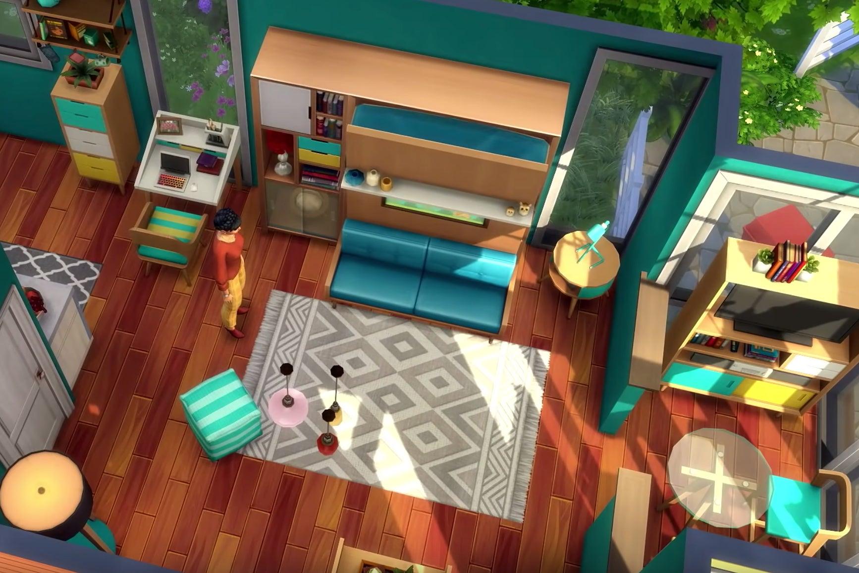 Sims open floor plan interior