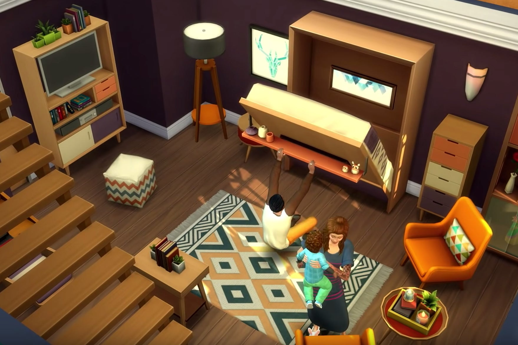 Sims interior with murphy bed and colorful cabinets