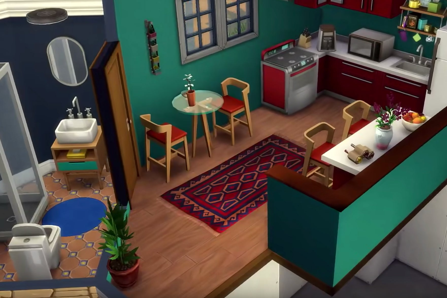 Sims interior with small kitchen