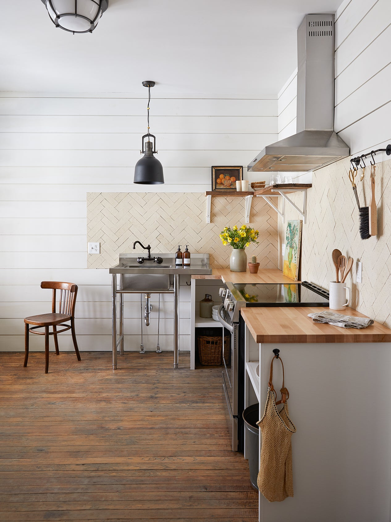 neutral colored open kitchen
