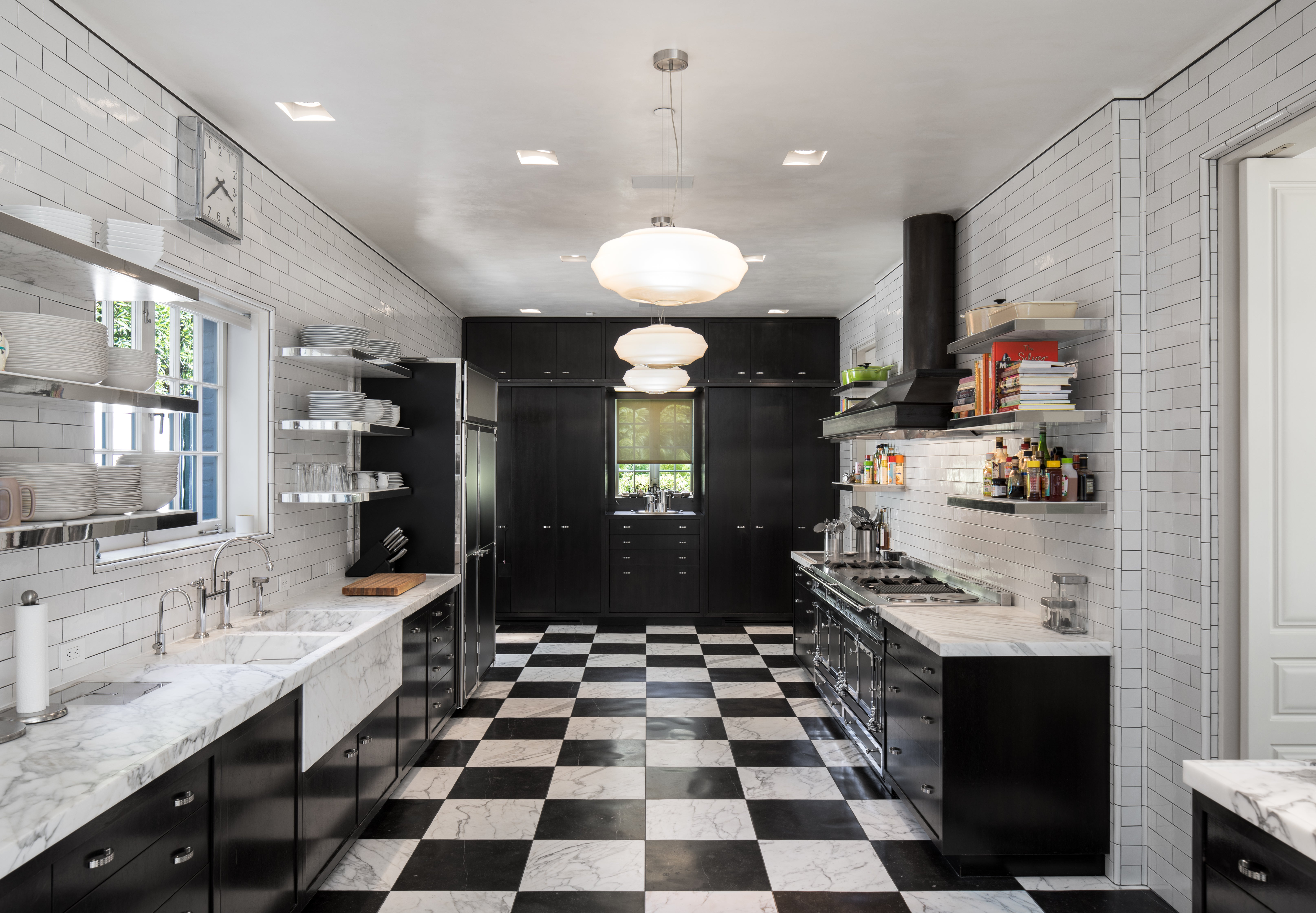 kitchen with black and white check floors