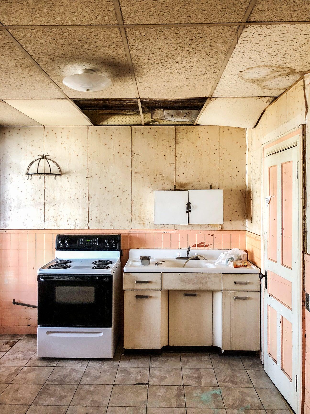 old pink kitchen
