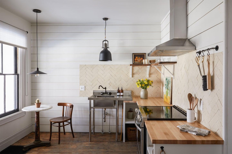 open floor plan beige kitchen