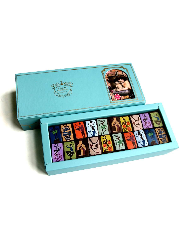 Colorful 20-piece chocolate box