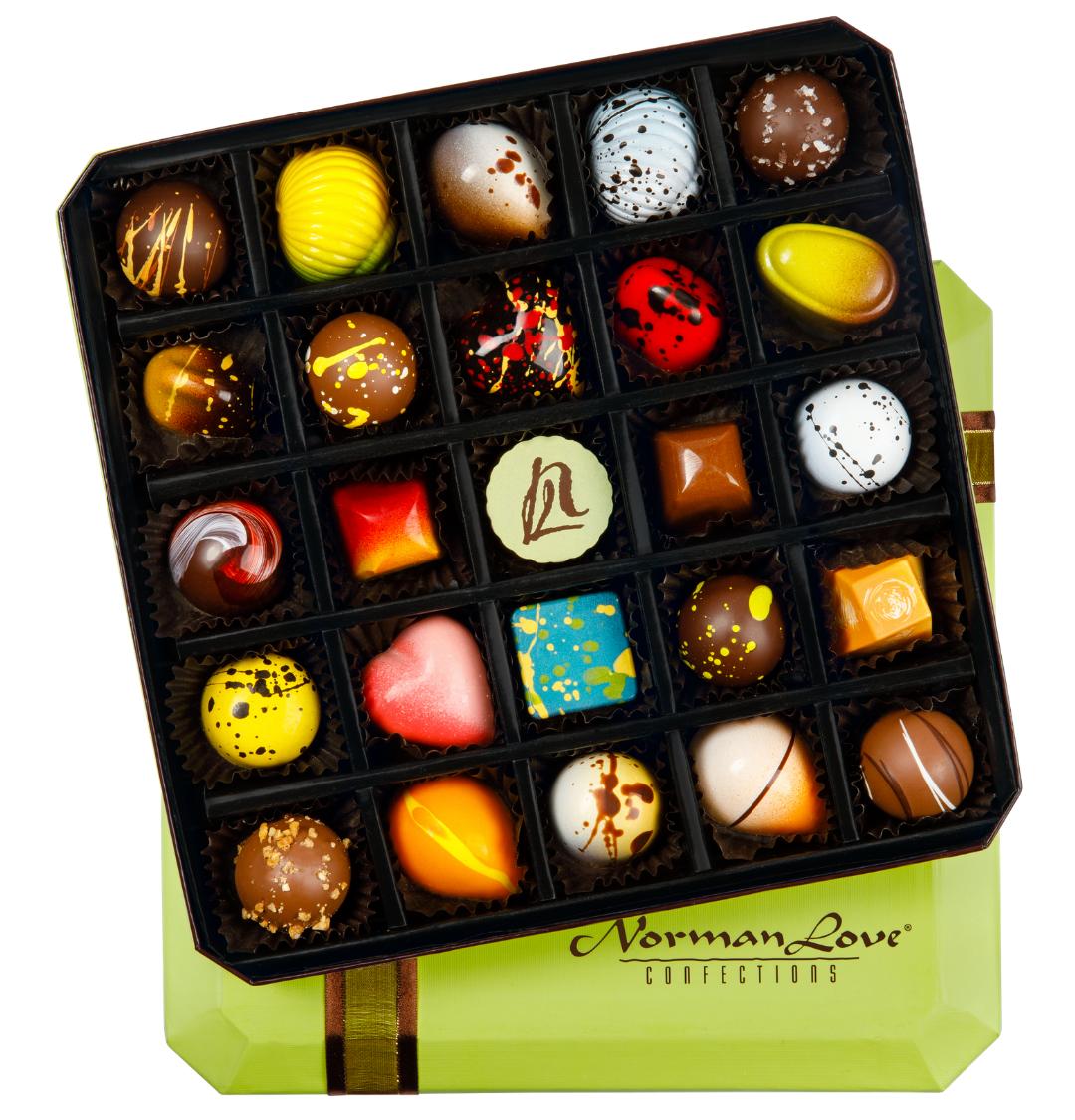 Colorful box of chocolates