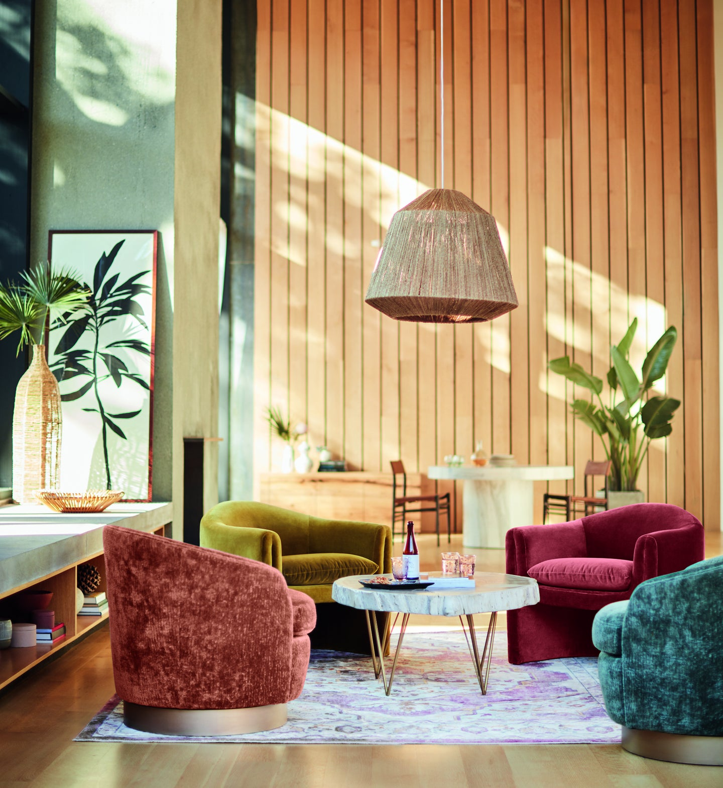 living room with multicolored chairs
