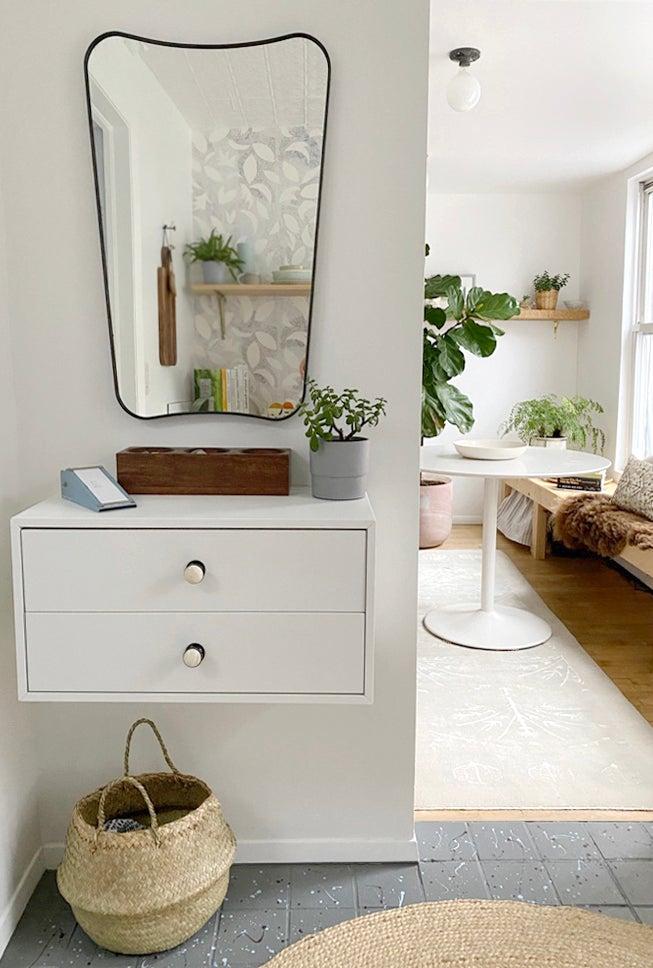 floating white cabinet