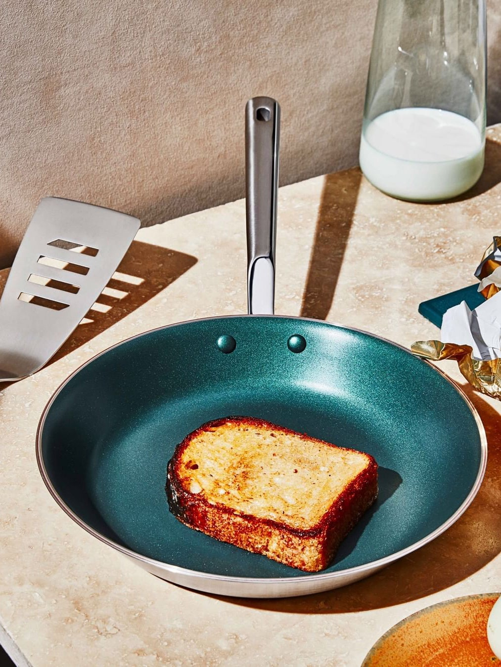 Nonstick pan with a piece of French toast