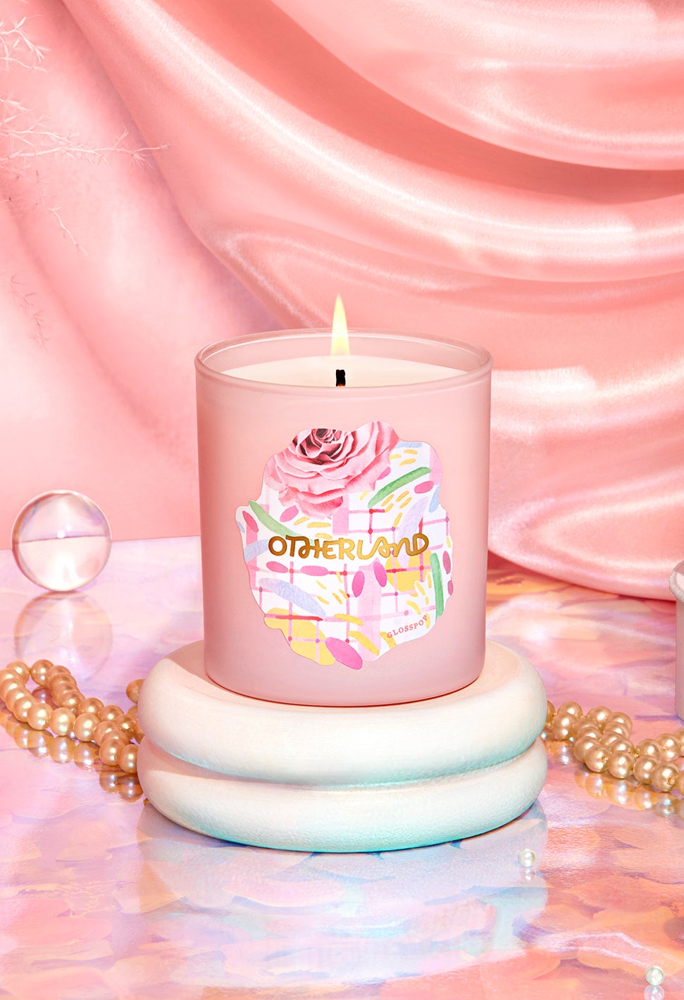 Pink '90s themed candle