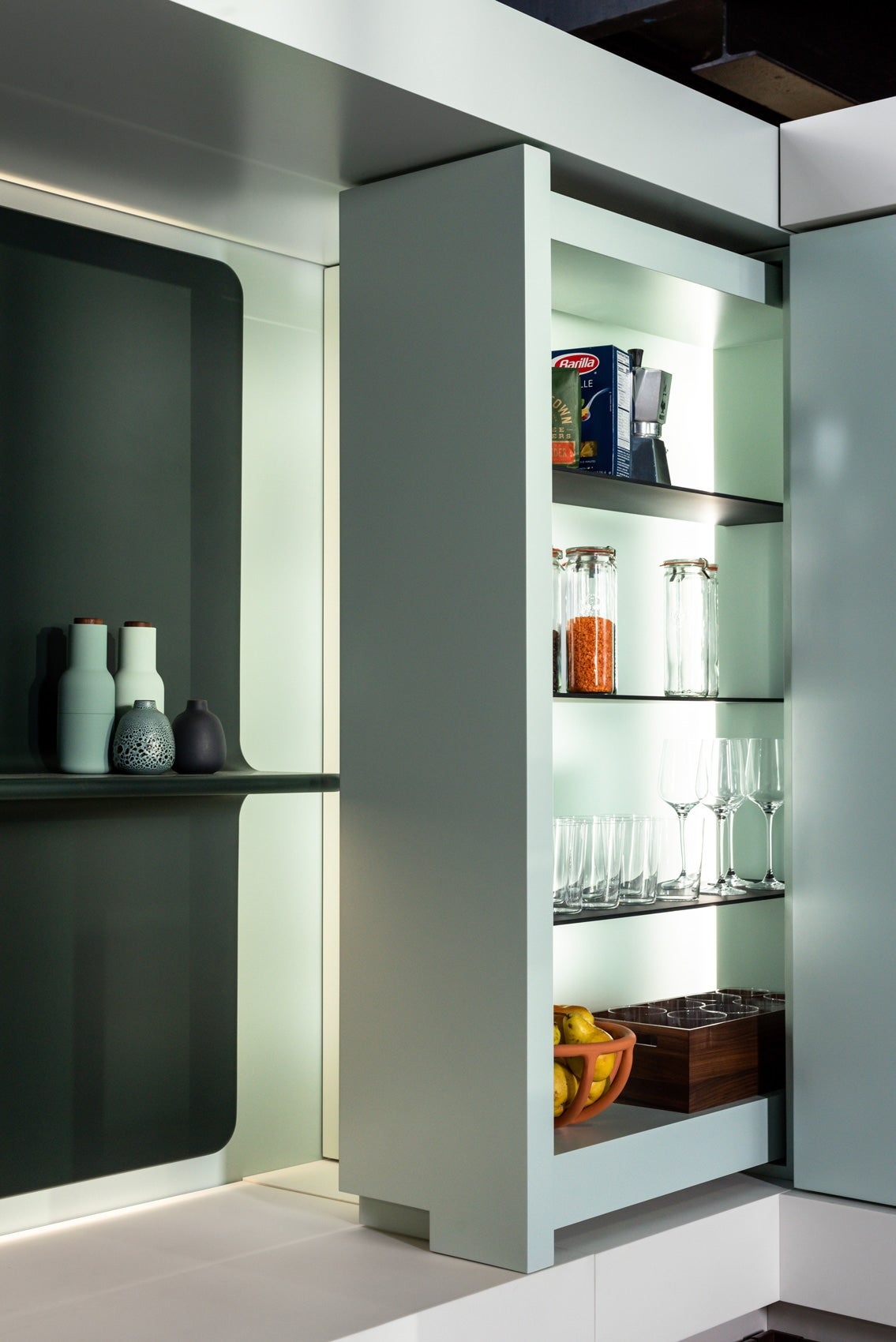 sliding glass cabinet out of the wall