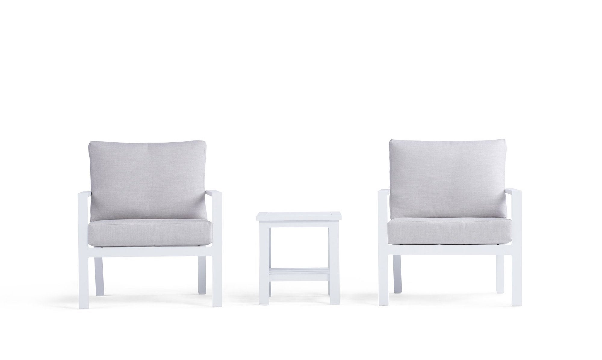Gray and white outdoor chairs with table