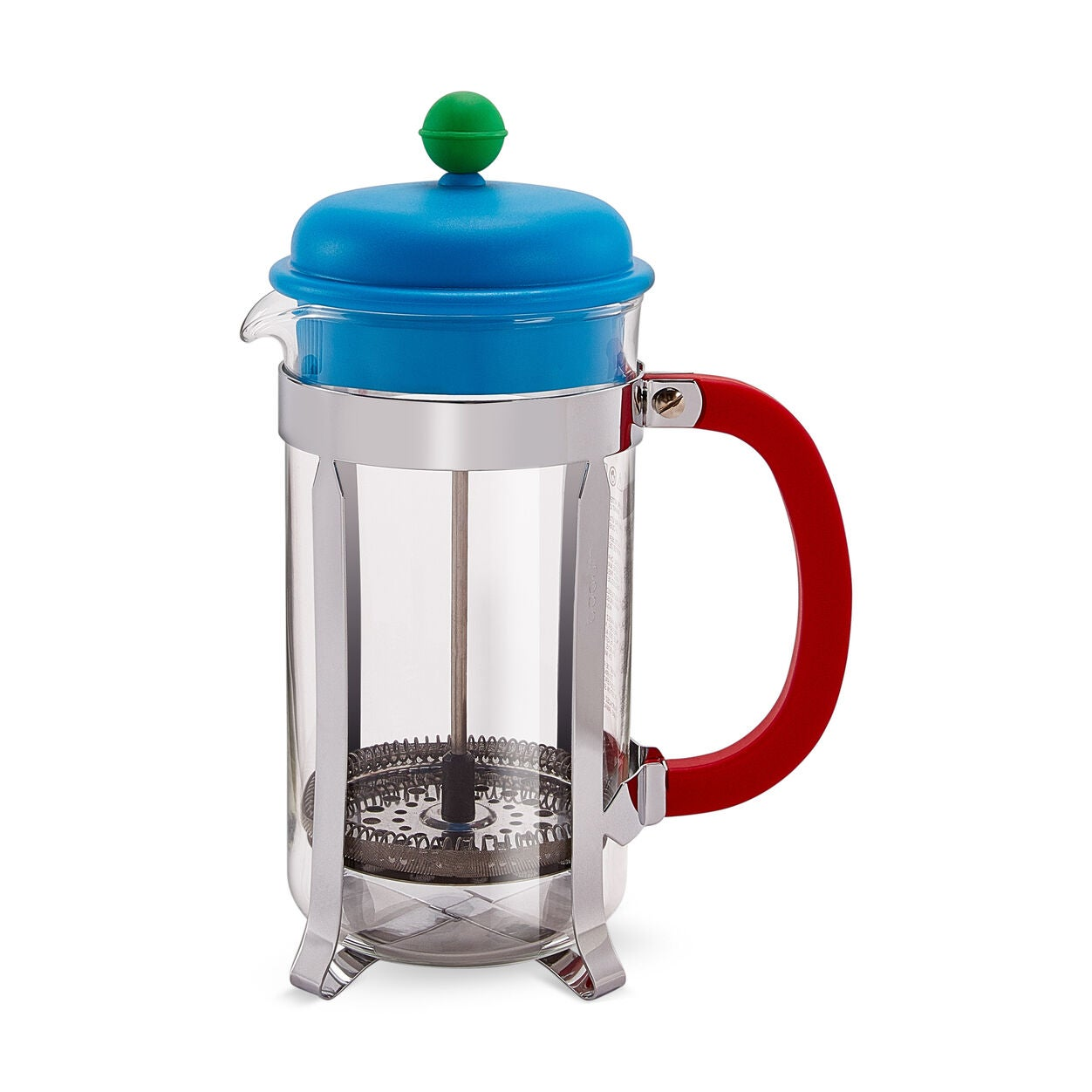 Quirky French press with blue top and red handle