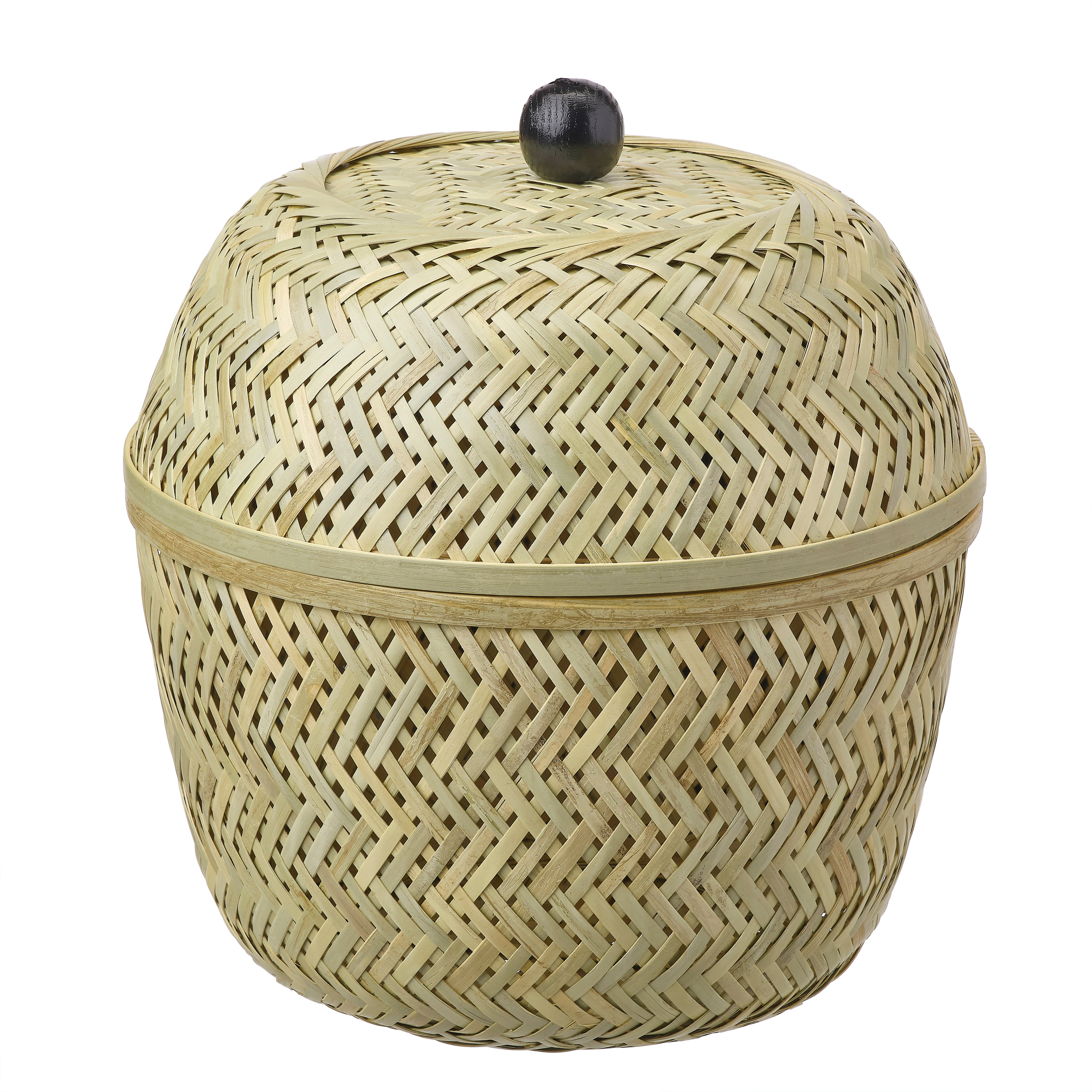 tall bamboo basket with black knob