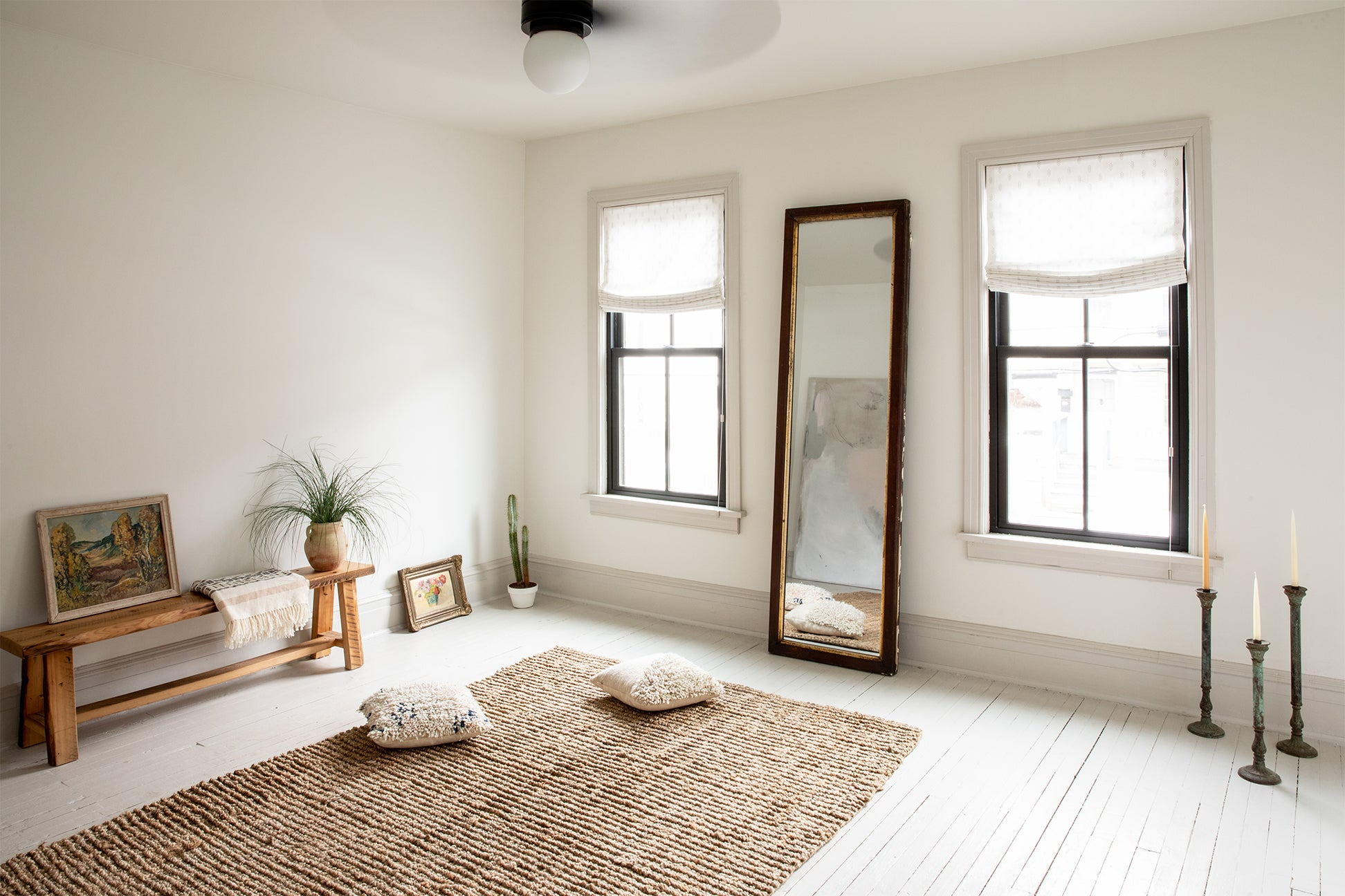 empty living room with jute rug