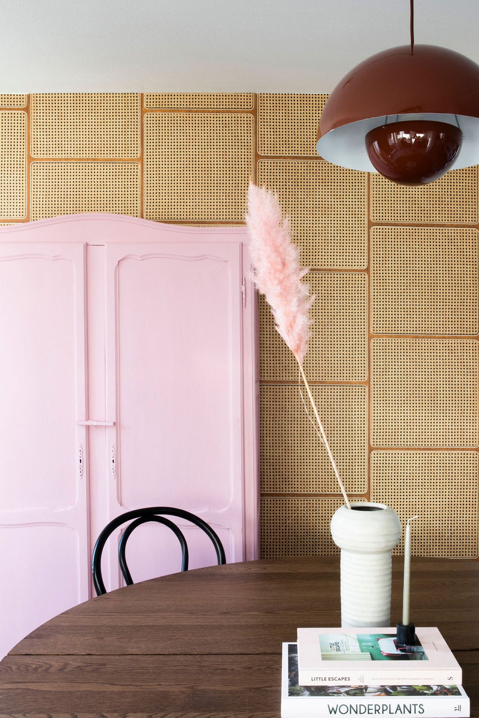 cane wallpaper in a dining room