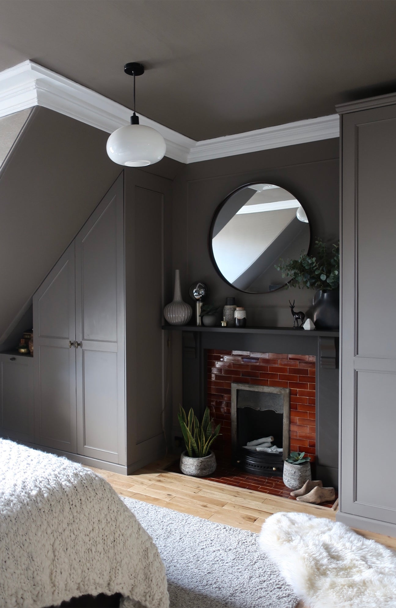 grey bedroom with custom closets