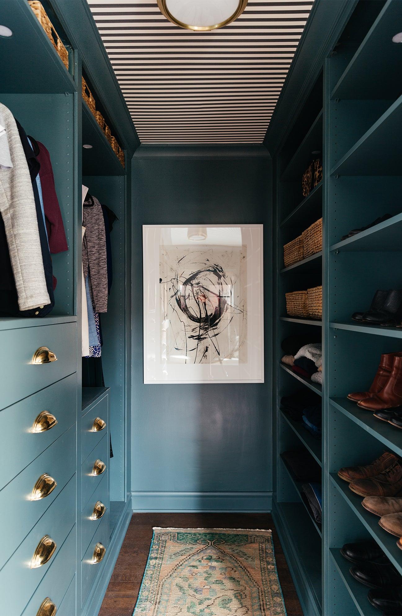 teal walk in closet